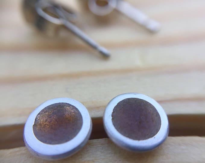 Honey Brown Silver and Viterous Enamel Stud Earrings