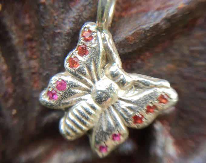 Sterling Silver Charm Butterfly Pendant on Chain set with Pink and Orange Sapphires