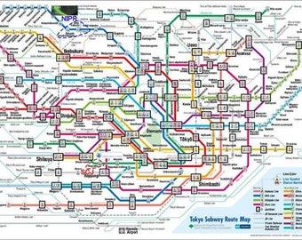 Tokyo Subway Map Framed.Tokyo Subway Etsy