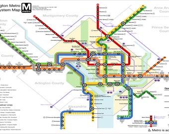 Washington Dcdc Subway Map.Dc Metro Poster Etsy