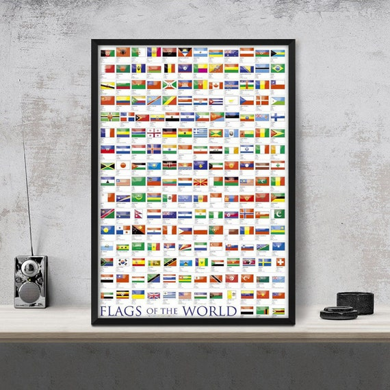 Framed World Flags Art Wall Decor Poster Wall Picture Print | Etsy