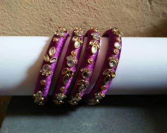 Silk thread violet bangles set of 4