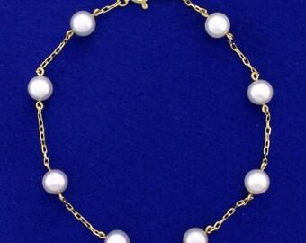 "Nouveau 7-8 mm Rose Akoya Cultured Pearl Collier Boucle d/'oreille Strand 18/"" Set"