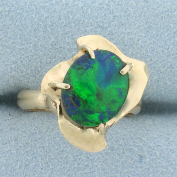 Black Opal Doublet Solitaire Ring in 14K Yellow Go