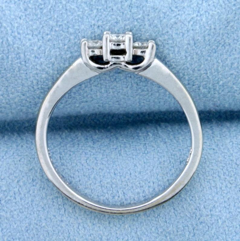 14ct TW Three-Stone Diamond Anniversary or Wedding Ring in 14K White Gold and Platinum