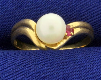 Akoya Pearl and Ruby Pinky Ring in 18K Yellow Gold