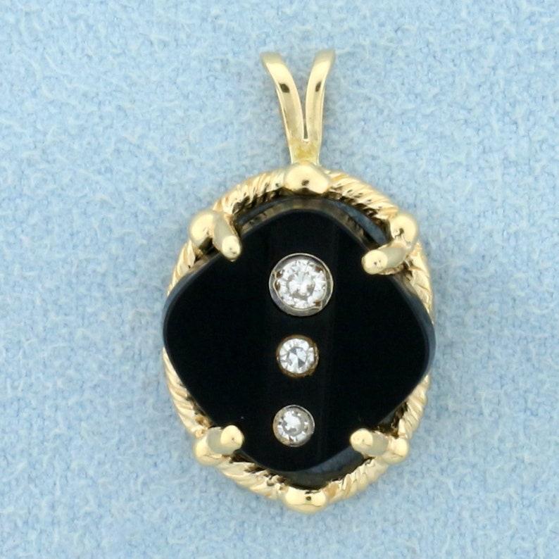 Onyx and Diamond Pendant in 14K Yellow Gold