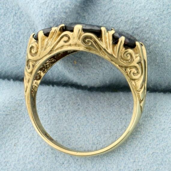 Vintage 4ct TW 3 Stone Garnet Ring in 9K Yellow G… - image 3