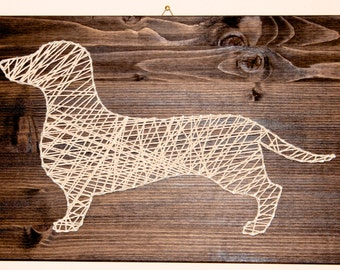 String Art Painting handmade Dachshund Dachshung Framework with spruce wood Twine and nails