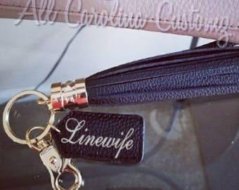 Linewife Faux Leather Tassel Key Chain