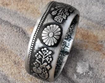 Japan 50 Sen Silver Coin Ring