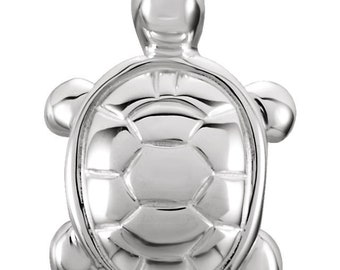 Sterling SIlver Turtle Pendant, Silver Turtle Pendant and Necklace. Turtle Jewelry