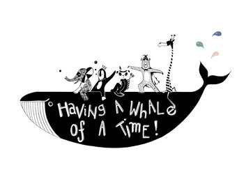Having a whale of a time: Monochrome kids print for nursery or bedroom of a whale