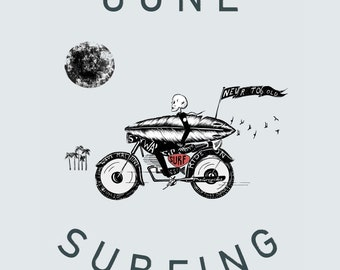 Gone Surfing: surfing and motorcycle print