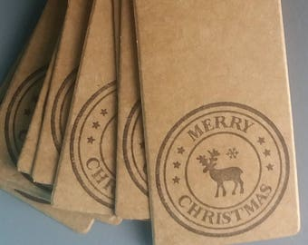 Christmas Gift Tags Stag Merry Christmas Hand Stamped. Pack of 10. Kraft tags, White and Silver String, Black stamp image on brown kraft tag