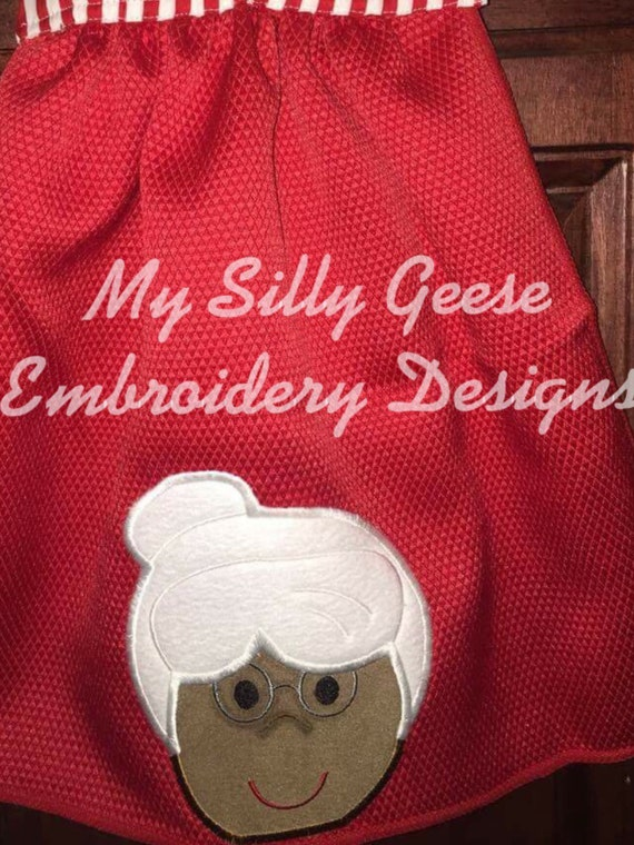 Digital File 4x4 Mrs Claus Peeker Hooded Towel Embroidery Etsy