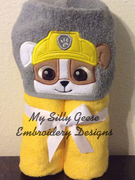 Digital File 4x4 Construction Dog Peeker Pup Hooded Towel Etsy
