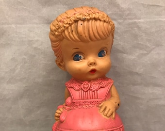 "Sqeak Toy - Vintage 1958 Edward Mobley Squeak Rubber Girl Doll Toy with Pink Dress - 8"" Tall"