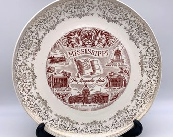 """Mississippi State Plate - The Magnolia State - 10"""" - Gold Trim"""