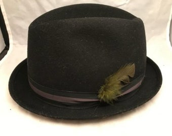 Black Fedora - Vintage Harvard Boys Headwear Harvard Prep Black Fedora / Hat with Feather - Youth