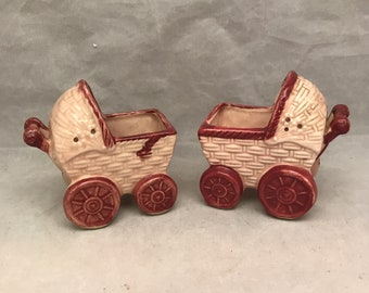 """Salt & Pepper Shakers - Vintage Baby Carriage Salt and Pepper Shakers w/ Unique Open Top Design - Made in Occupied Japan - 3.5"""" x 2.5"""""""