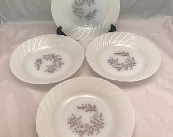 """Termocrisa 4 Salad Bowls - Blue / Brown Floral Pattern - Mexican Fire King - 7.5"""" - Milk Glass - Mexico"""