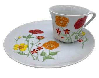 "Vintage Seymour Mann Flower Garden - Snack Plate & Cup Set - 8.25"""