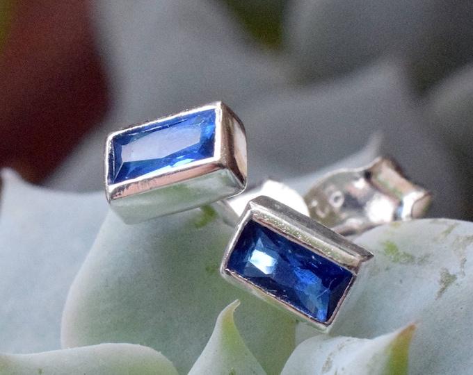 Featured listing image: Tiny Blue Sapphire Studs, September Birthstone Earrings, Dainty Minimalist Studs, Small Baguette Stud Earrings, Blue CZ Rectangle Earrings