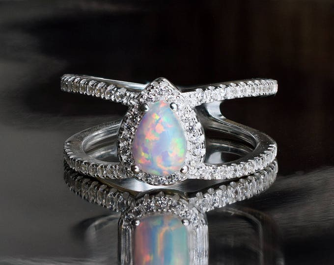 Featured listing image: Teardrop Opal Halo Ring, Double Band, Synthethic Opal with Micro Pave CZ, October Birthstone Ring, Modern Elegant Style, Prong Set Opal