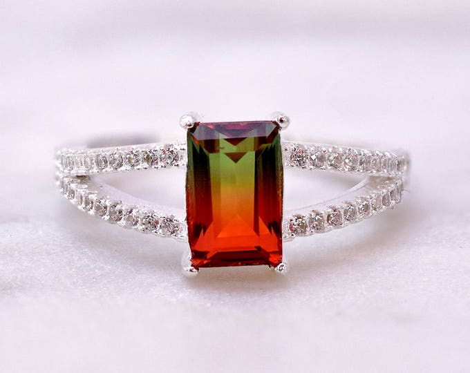 Featured listing image: Watermelon Tourmaline Ring, Micro Pave CZ band, Elegant Prong Set Ring, Emerald Cut Synthetic Watermelon Tourmaline Jewelry Sterling Silver