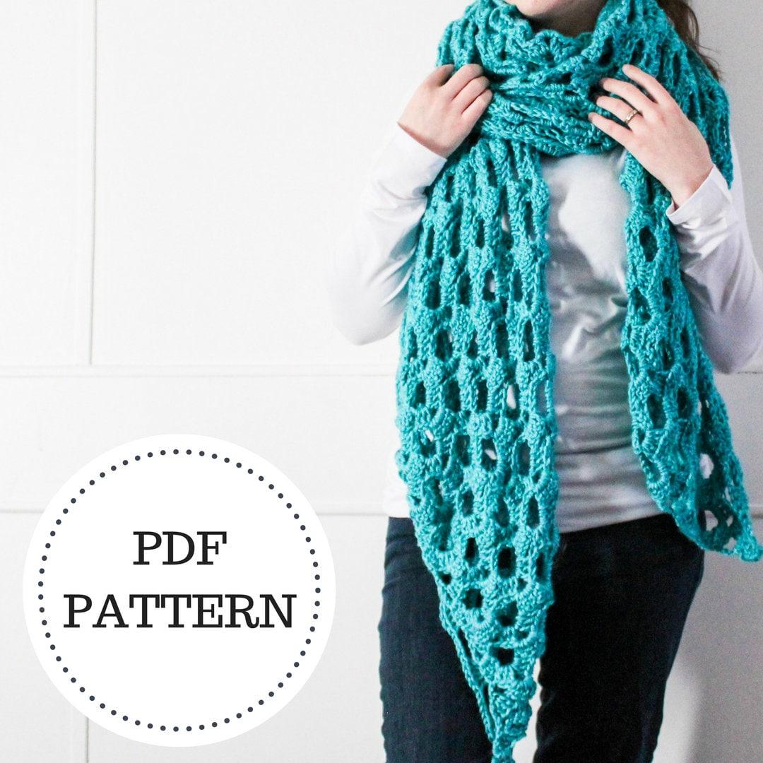Pattern For The Crochet Blanket Scarf Crochet Scarf Pattern Etsy
