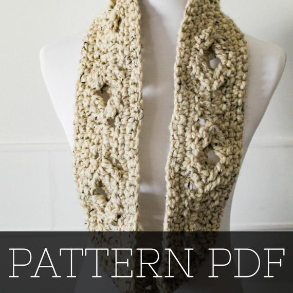 Pattern For The Asher Scarf Crochet Scarf Cable Scarf Etsy
