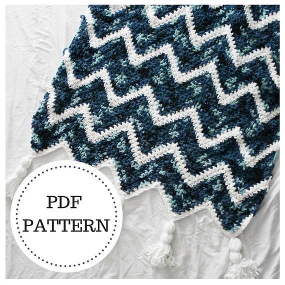 Pattern For The Waterfall Throw Crochet Chevron Blanket Etsy