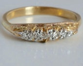 Victorian 18 carat gold ring with five diamonds
