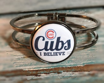 Chicago Cubs Jewelry, Bracelet, Baseball, Sports, World Series, Interchangeable, Button, Magnetic, Pick any 2 inserts, Custom