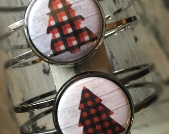 Christmas Bracelet, Holiday Bracelet, Christmas Jewelry,  Holiday Jewelry, Plaid Bracelet, Christmas Tree Bracelet, Plaid Tree, Tartan, Gift