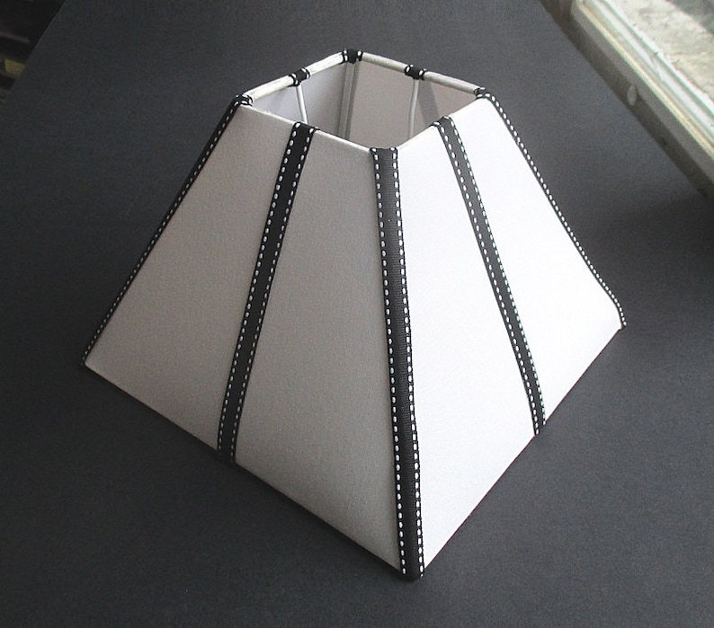 Black And White Lamp Shade Pyramid 20cm 8 In Black Etsy