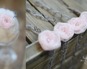 Delicate Newborn Flower Tie Back Headband, Newborn Photo Prop, Hair Accessory for Babies