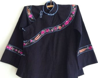 Vintage China Miao People Hand-Emboroidery Blouse