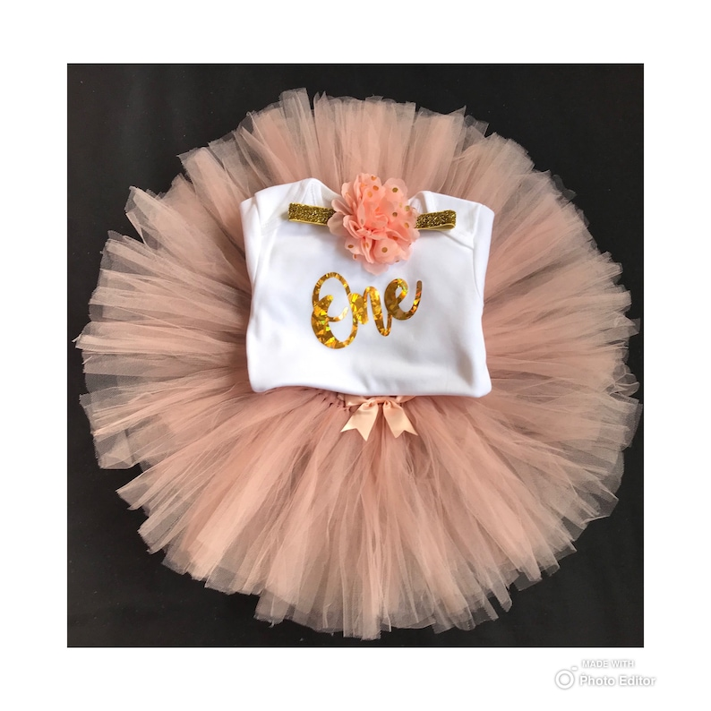 Baby Girls 1st First Birthday Pink Tutu Skirt Outfit Cake Smash Set /& Tiara 9-12