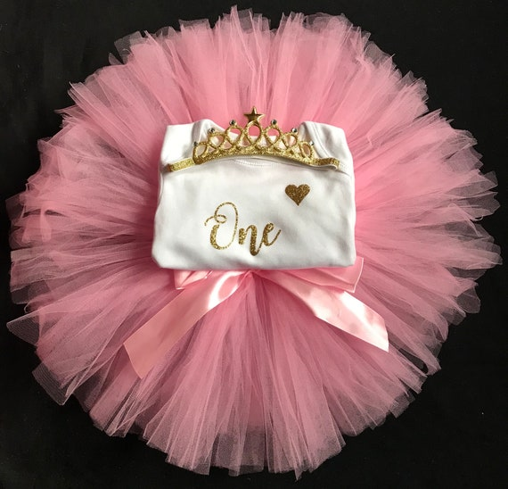 Baby Girls 1st First Birthday Pink Tutu Skirt Outfit Cake Smash Set /& Gold Tiara