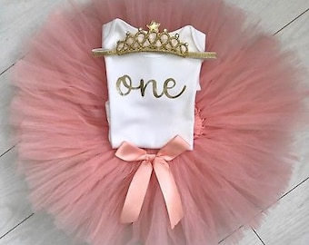 Baby Girl 1st Birthday Outfit First Birthday Outfit Girl First Birthday Outfit Cake Smash Outfit 1 Year Tutu Pink Tutu Baby Tutu