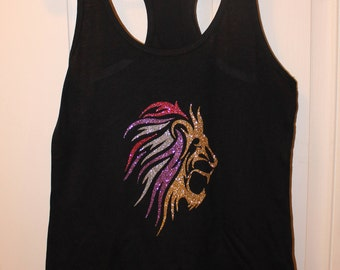 Lion tank top; animal shirt; animal tank; lion shirt; glitter animal shirt; glitter tank; lion face shirt; lion face tank; lion; fierce tank