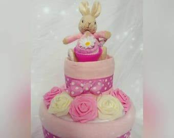 Beautiful Personalised Two Tier Flopsy or Peter Rabbit Nappy Cake With Sock Cupcake and Roses