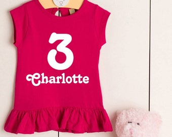 df9d8ab7f Girls Personalised Third Birthday T Shirt Short Sleeved Pink White Number  Name Frill 3rd Gift Cotton