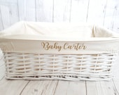 Personalised Baby Storage Basket White Wicker Cotton Liner Gift Nursery Decor Organiser Boy Girl Neutral Gift Hamper box Choice of Two Sizes