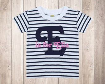3dead8e95 Personalised Initial Name T Shirt Girls Top Striped Pink Birthday Gift  Cotton Letter Is For Baby Toddler Kids Tee Short Sleeve White Navy