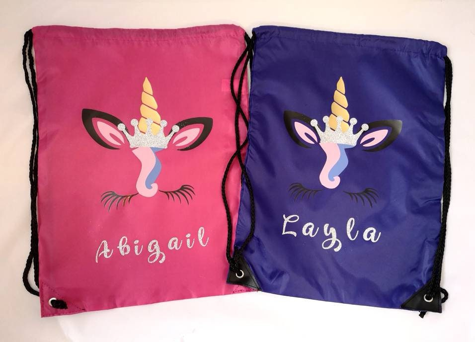 346ccc673f Personalised Unicorn School PE Gym Bag Girls Glitter Name Drawstring Holdall  Dance Vinyl Printed Gold Silver Pink Purple Gift Birthday