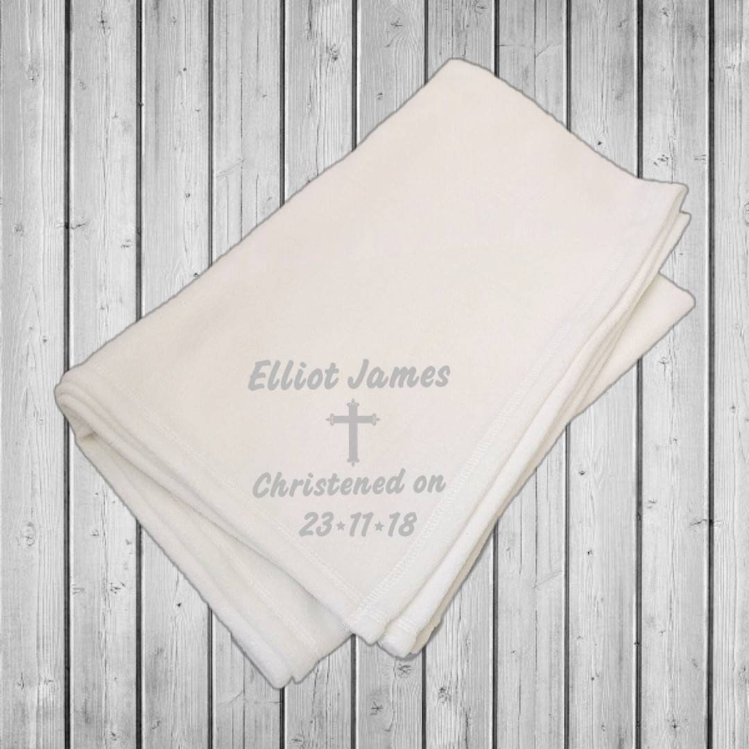 Cross Design White Personalised Baby Christening Shawl Silver//Pink//Blue