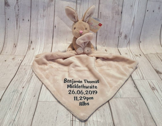 Christening Embroidered Baby Gift Personalised Bunny Comforter Pink//Blue